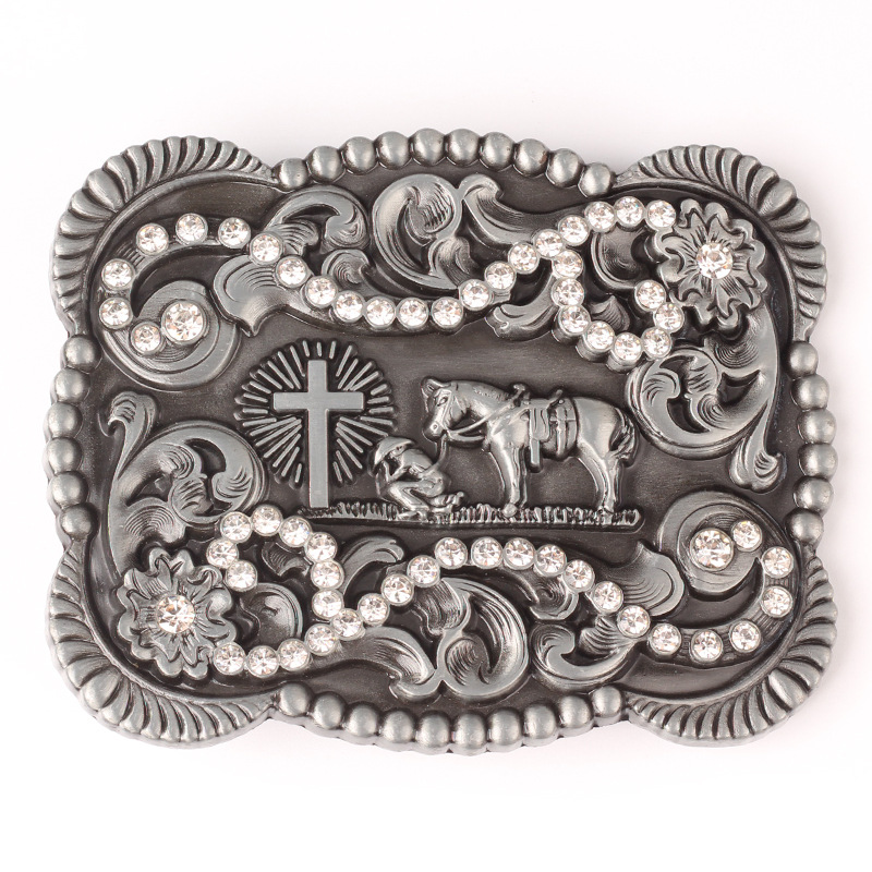 Western Style Water Drill Cross And Horse Large Belt Buckle