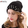 Rhinestone Beanie Hats Winter Solid Color Warm Wool Crystal Knit Ribbed Hat Cashmere Thick Skullies Women Diamond Black Beanie