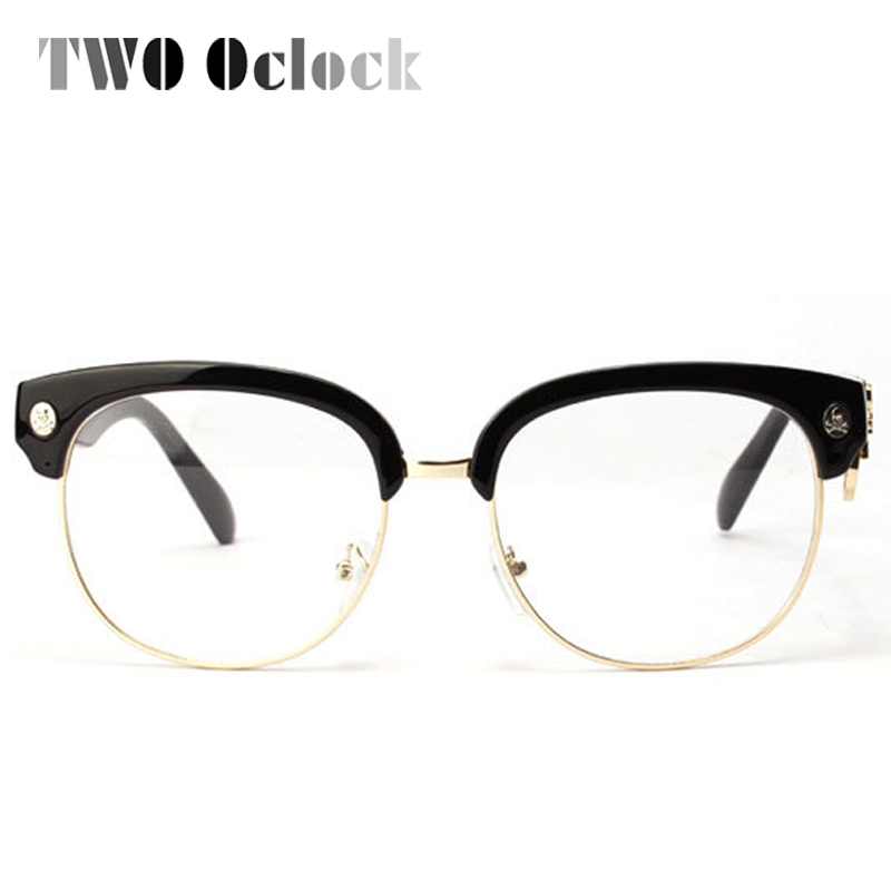 TWO Oclock Classic Semi Rimless Skull Eyeglasses Frames Women Men ...