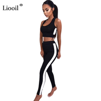 Liooil White Striped Rompers Womens Jumpsuit Spring Ribbed Sleeveless Bodycon Two Piece Set Female Overalls Casual