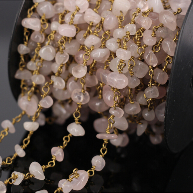 Diy 5 м розовый кварц чип бусины цепи, Золотое покрытие медная проволока завернутый четки стиль цепочки женщины ожерелье ювелирных изделий