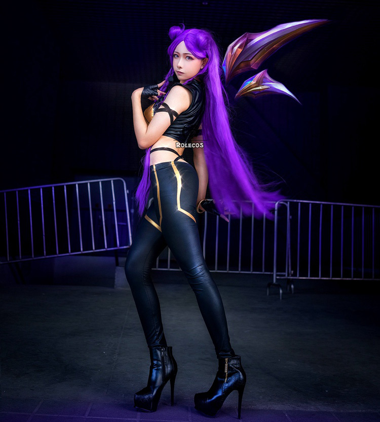 ROLECOS LOL KDA Cosplay Costume KDA Kaisa Cosplay Costume Game Kaisa Outfit Fullsets K DA Group LOL Character Cos with Gloves