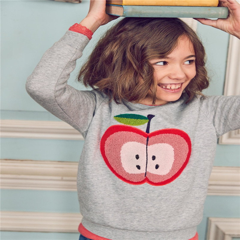 Little Bitty baby girls cotton sweatshirt kids new designed cartoon clothes with applique a apple hot selling girls autumn tops