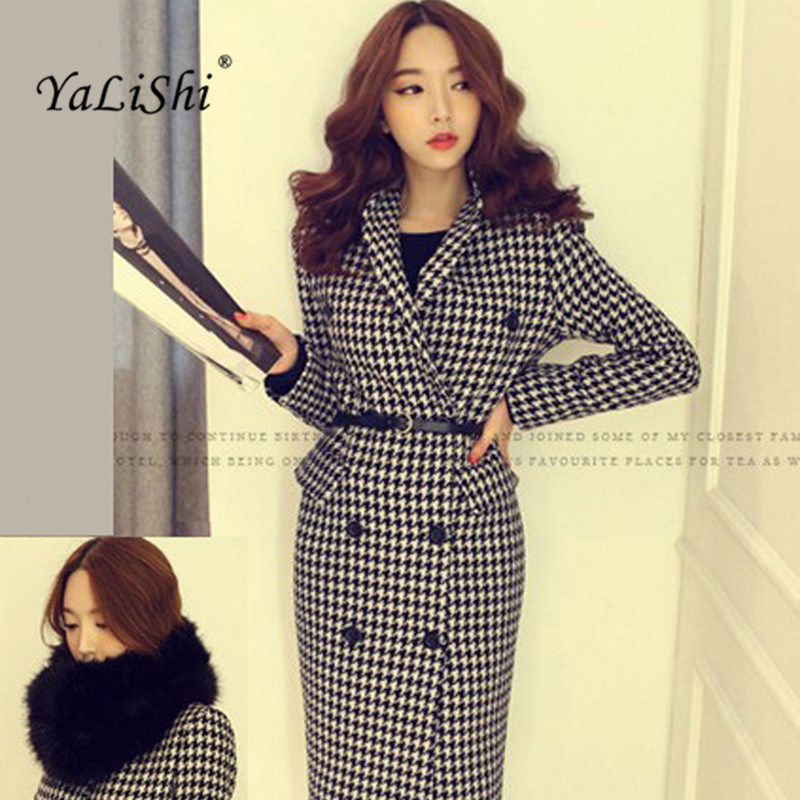 2017 New Autumn Winter Double-breasted Vintage Woolen Coat Women Turn-down Collar Houndstooth Long Coat Elegant Female Warm Coat