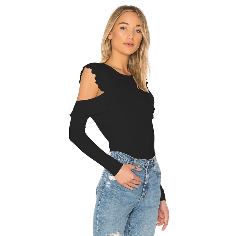 Women Hollow Out Casual Pullovers Tops T-shirts Ladies Casual O Neck Slim Long Sleeve Shirts Y5