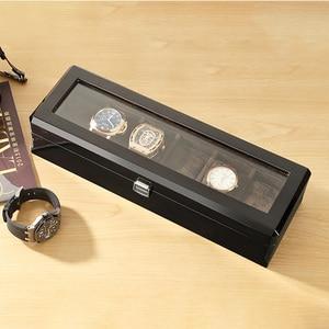 Image 3 - Yeni ahşap İzle ekran kutusu organizatör siyah Top İzle ahşap durumda moda İzle depolama hediye paketi kutuları mücevher durumda