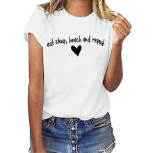 Moda Mujer 2019 Verano Korean Style Women Plus Size Letter And a Heart Print Shirt Short Sleeve T Shirt Minimalist Art White Top(China)