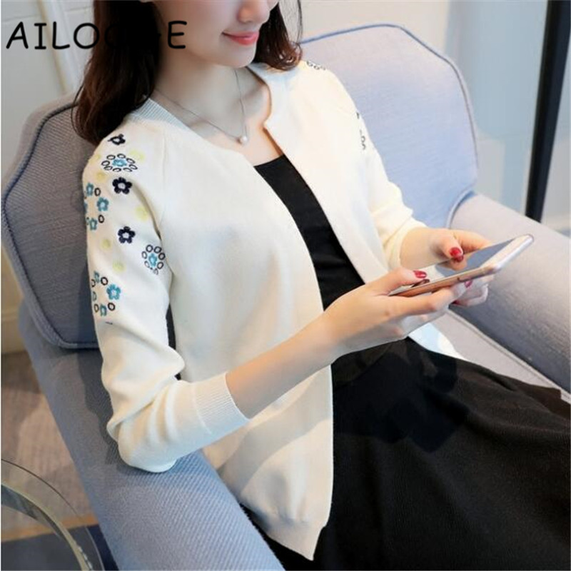 Knit a female cardigan The new 2018 autumn fashion short woman with a small shawl embroi ...