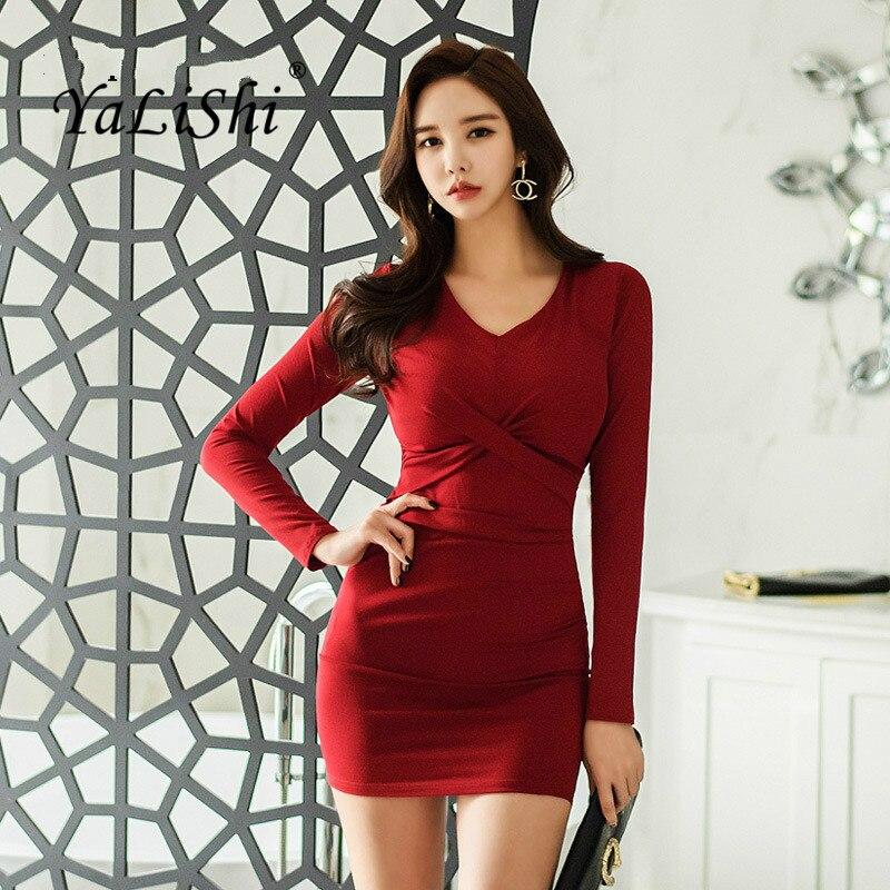 Plus Size Bodycon Bandage Dress 2018 Autumn Women Red Long Sleeve V neck Sexy Club Mini Dress Korean Wrap Short Dresses Ladies