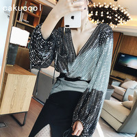 Cakucool Women Full Sequined Spring Blouse Deep V neck Long Lantern Sleeve Blusas Bling Party club Conjoined Top Blouses Lady