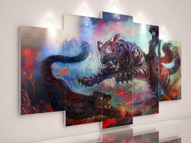 5 Pieces Fantasy Motivational Poster Canvas Painting Abstract Art Laminas Decorativas Pared Cuadros Painting Tiger Poster HD DIY