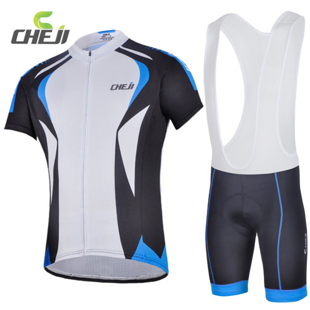 CHEJI Blue Green Short Sleeve Ropa Ciclismo Maillot Tights Bike Cycling Jerseys Sets Men Bicycle T-shirts Gel Padded Bib Short 2017 cheji pro team mens ropa ciclismo cycling jerseys gel pad bib shorts short sleeve bike bicycle wear shirts black & red