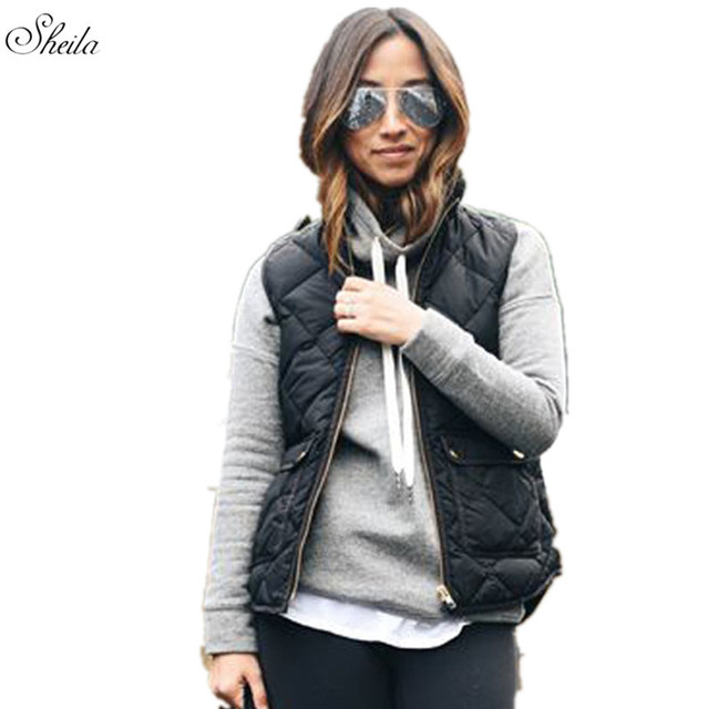 Sheila Women Slim Warm Vest Pocket Coat Sleeveless Jacket Vest Waistcoat Solid Casual Fashion Zipper Winter Warm Femme Oct24