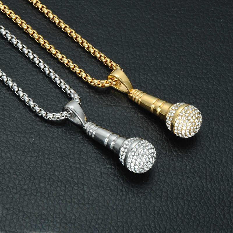 Хип-хоп с золотистым или титановым покрытием из нержавеющей стали со льдом из шикарной музыки стереоскопический кулон «микрофон» ожерелье для мужчин ювелирные изделия