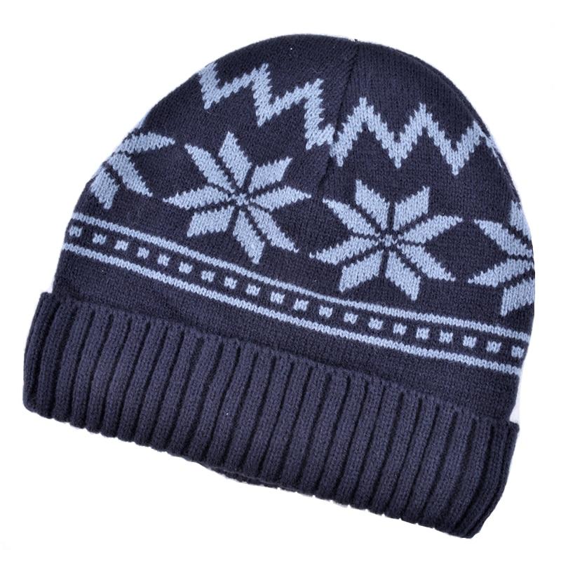Winter Beanies Snowboard-Mask-Caps Snowflake Men Hat Skullies Knitted Velvet Plus Unisex