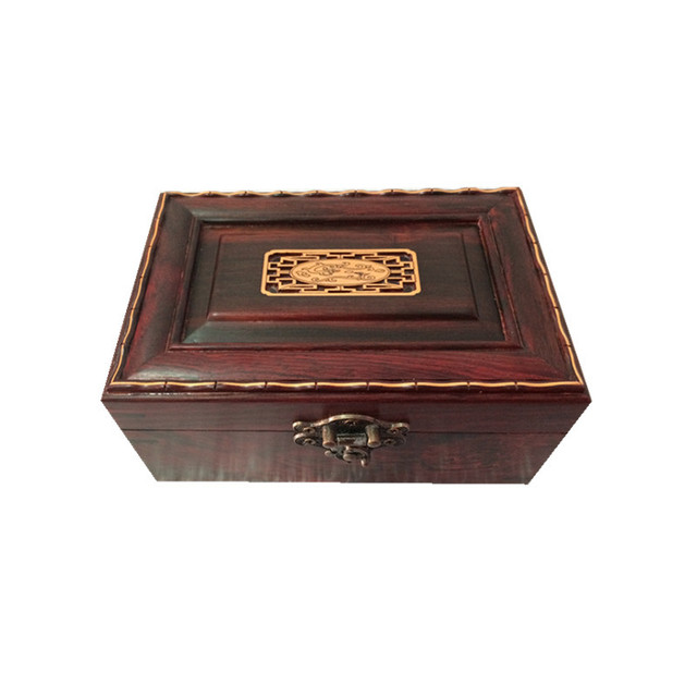 Mahogany red wood jewelry box box boxwood inlay jewelry box