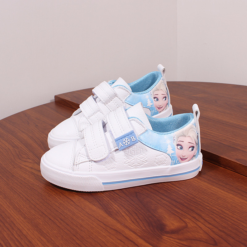 Princess Girls Shoes For Kids Fashion Elsa Anna Kids Shoes 2018 Ice Snow Queen Casual Children Shoe Girl Sneakers white flat