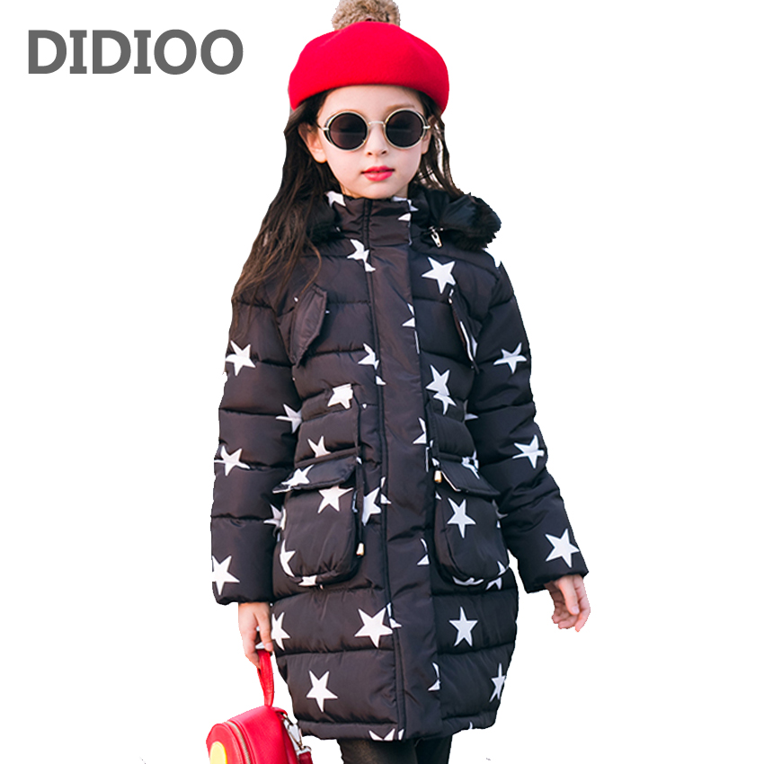 Children Winter Parkas Stars Print Cotton-Padded Jackets For Girls Outerwear Thick Hooded Coats Warm Kids Tops 4 6 8 10 12 Years 9m 4t baby girls 2015 new autumn winter thick wadded coat kids cotton warm hooded jackets children padded outerwear