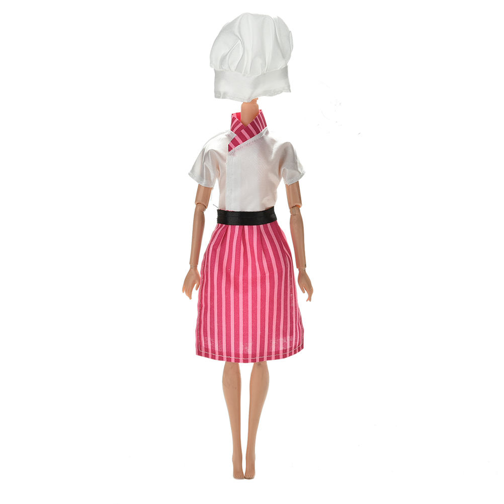 New Handmade Doll Clothing Cosply Costume Chef Clothes For Barbie Dolls Hat For 1/6 BJD Dolls