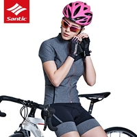 Mulheres Santic Ciclismo Jersey Manga Curta Jersey Bicicleta Desgaste Ciclo Camisa Primavera Roupas de Verão Respirável Tecido de Alta Tecnologia|cycling jersey short sleeve|cycling wear|jersey short sleeve -