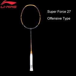 Li-ning super força 27 raquetes de badminton única raquete de fibra de carbono de alta elasticidade magro eixo forro raquetes aypm222 zyf210