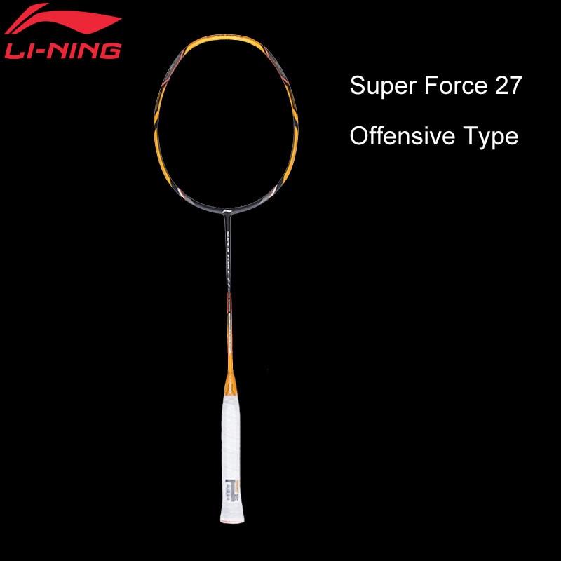 Raquettes de Badminton li-ning Super Force 27 raquette unique en Fiber de carbone haute résistance à la traction raquettes de doublure d'arbre mince AYPM222 ZYF210