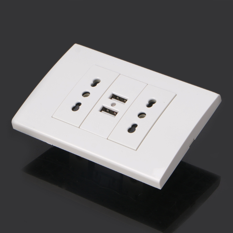 16A Wall Double Italian/Chile Plug Power Socket Adapter Dual USB Ports Panel 5V 1A cafe tacvba chile
