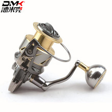 цена на DMK 800-5000 Size Spinning Fishing Reel 5.2:1/11+1BB Steering-wheel CNC Handle Molinete Para Pesca Spinning Reel Moulinet Peche