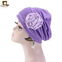Fashion Women big flower Hat Chemotherapy Cap Muslim Islam Ruffle Cancer Chemo Beanie Scarf Turban Wrap Hair Accessories