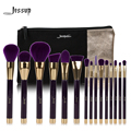 Jessup marca 15 unids belleza pinceles de maquillaje herramienta pincel púrpura y darkviolet t114 y bolsas de cosméticos mujeres bolsa cb002