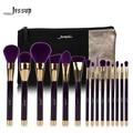Marca 15 pcs pincéis de maquiagem conjunto de beleza escova jessup ferramenta t114 & sacos cosméticos mulheres saco roxo e violeta escurocolor cb002