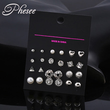 Phesee New 12 pair/set Fashion Style Vintage Square Crystal Heart Stud Earrings for Women Simulated Pearl Flower Earring