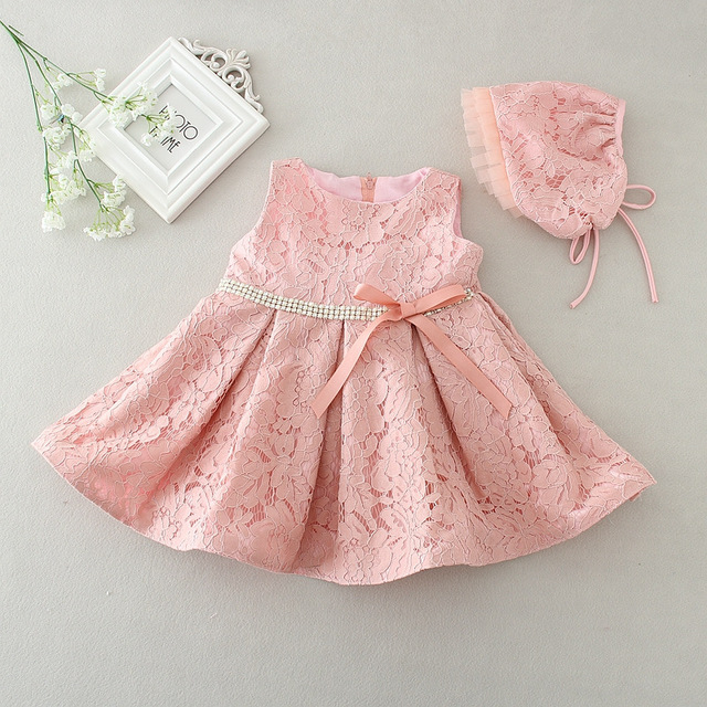 d699b64ad380c Latest set of one year old baby girl baptism dress princess wedding  vestidos 2017 baby girl christening gown with hat 3-24month