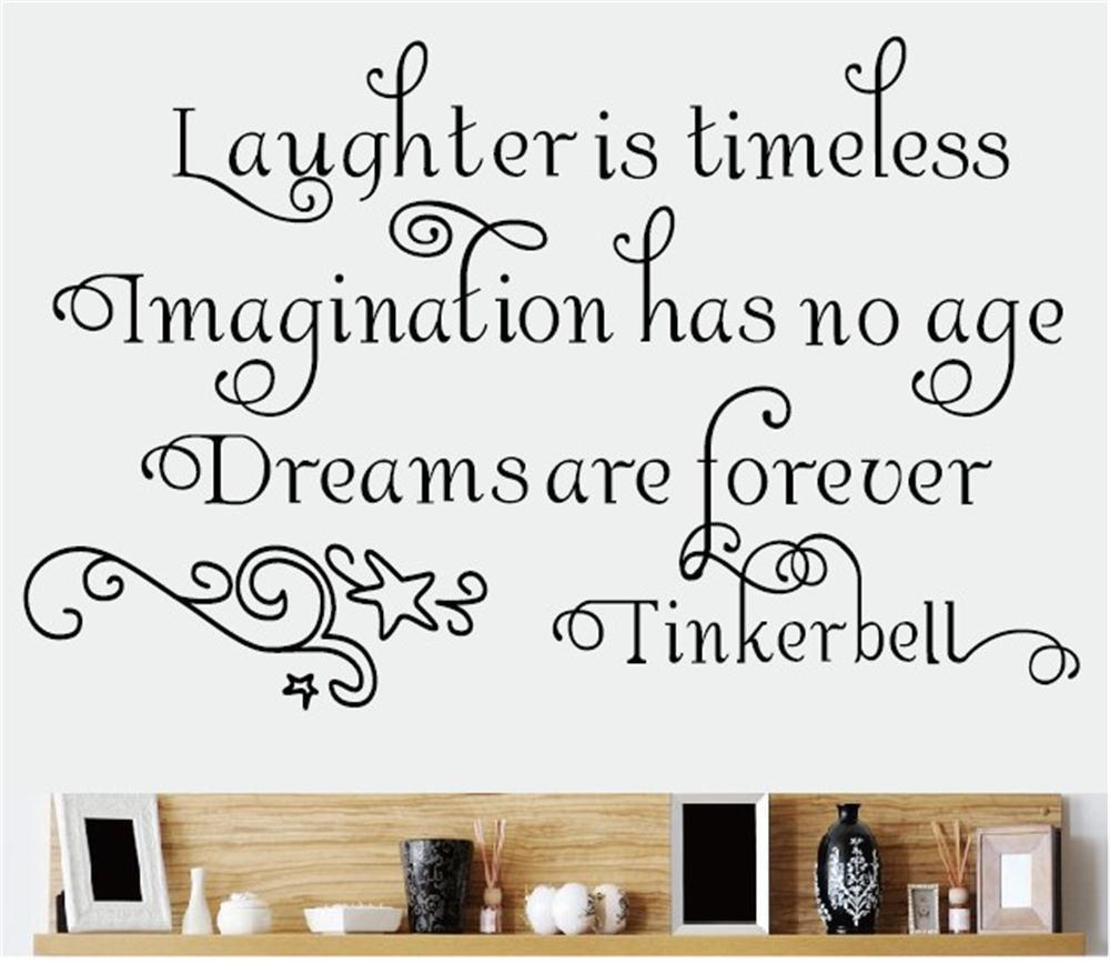 Laughter is timeless tinkerbell saying vinyl art sticker decor lettering words for kids room decal mural home decorations in wall stickers from home