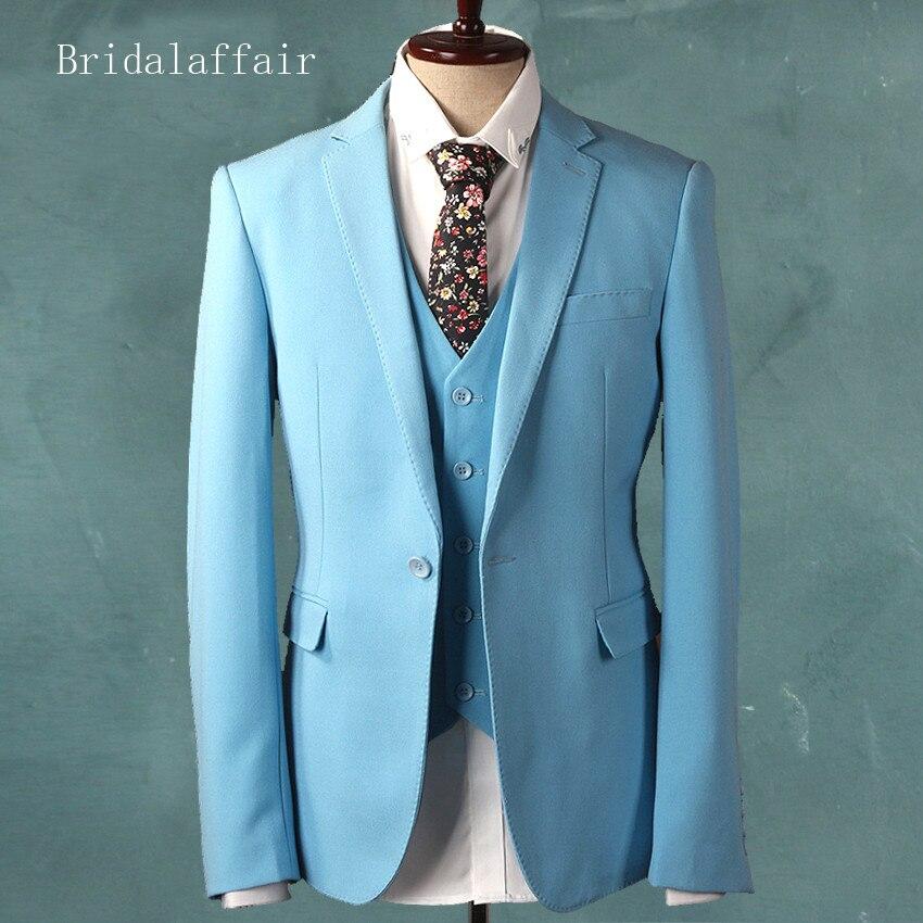 Bridalaffair Sky Blue Groom Tuxedo Men\'s Wedding Prom Suits Set ...