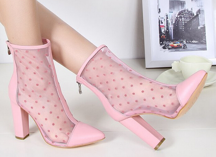 Free shipping polka dot air mesh sandal boots 2017 pink/black/white/gold ankle boots breathable spring summer short boots