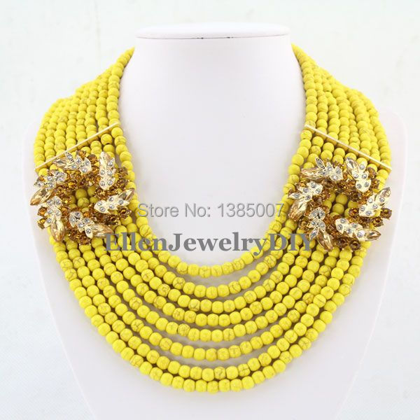 High Quality Yellow Turquoise Jewelry Necklace 8 Rows Nigerian Turquoise Necklace Wedding Gift Holiday Party Necklace