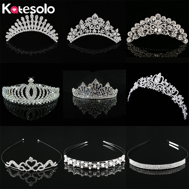 Jewelry Headband Tiara Crown Pearl Crystal Wedding-Party-Hair Bridal-Prom Silver-Color
