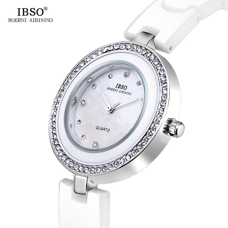 IBSO High Quality Ceramic Strap Women Watches 2019 Crystal Diamonds Ladies Watch Shell Dial Quartz Watch Women Montre Femme