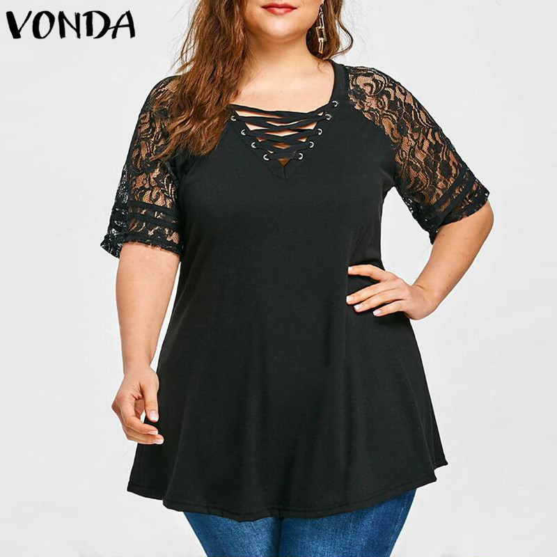 Women Lace Shirt 2018 Summer Sexy V Neck Short Sleeve Casual Loose Blouses Patchwork Bandage Black Tee Tops Plus Size Hollow Out 1