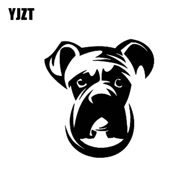 YJZT 11.8CM*12.7CM Bulldog Dog Face Animal Vinyl Car Sticker Decals Black/Silver C10-00439
