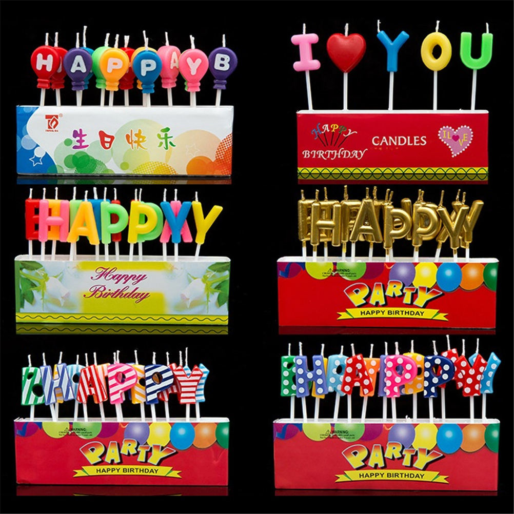 Happy Birthday Letter Balloon I Love You Candles Toothpick Cake Cute Candle Kids Party Decoration 1Set legos for boys ninjago