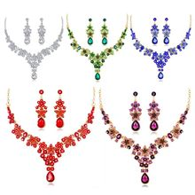 1 Set Necklace Earrings Drop Pendant Jewelry Elegant Multi Color Lady Crystal Red Lady Bridal Party Gift Exquisite Jewelry Sets цены онлайн