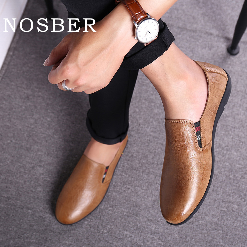 NOSBER 2018 Genuine Leather Male Doug Shoes Soft Comfotable Men Casual Shoes Slip On Driving Loafer shose ...