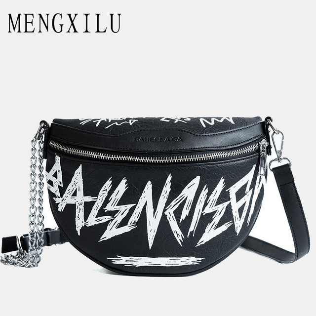 MENGXILU Fashion Female Waist Bag Ladies Women's Waist Bag 2018 Chains Belt Messenger Bags Handbags Women Famous shoulder sac
