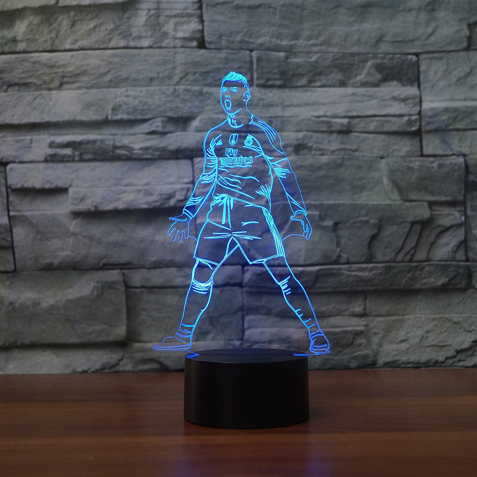 7 Colors 3D Visual Football Player Shape Night Light Acylic LED Table Lamp For Kids Baby Sleeping Lighting Home Decor Best Gift 3d luminous ice hockey player shape led table lamp 7 colors changing home living room decor light fixture baby sleep night light