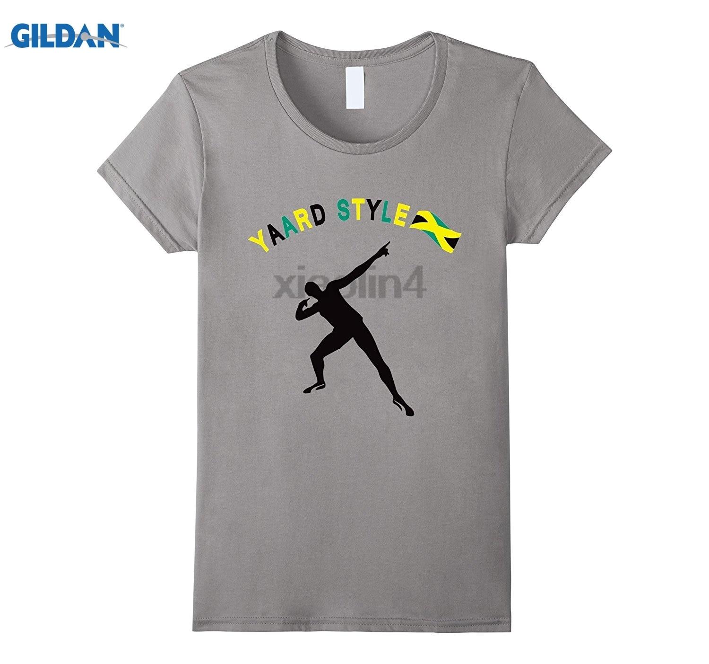 GILDAN Bolt Celebration Jamaica Track & Field Summer Games T-Shirt cotton round neck T-shirt youth trend short-sleeved T-shirt