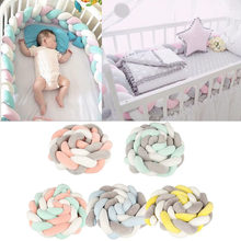 0a3e60f84e3 2M Baby Bed Bumper Knot Design Infant Plush Crib Pad Protection Cot Bumper  Baby Kids Bedroom Decor Bedding Accessories For Baby