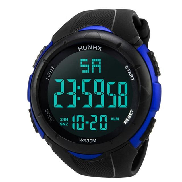 2018 Men LCD Digital Sport Watch Waterproof Men's Boy LCD Digital Stopwatch Date