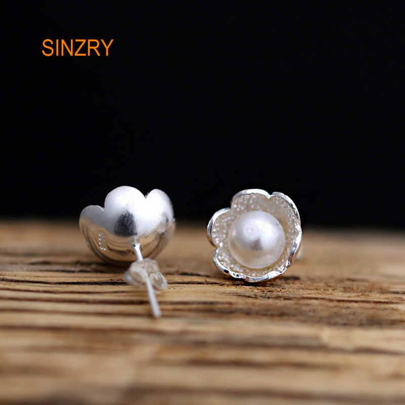 Sinzryคลาสสิกการออกแบบแฮนด์เมดเงิน100% sweetyดอกไม้s tud e arringsเงินสเตอร์ลิงมุกธรรมชาติสร้างสรรค์ต่างหูเครื่องประดับ